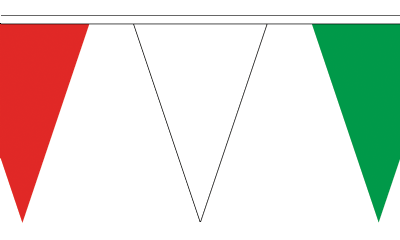 Red White and Green Traditional 20m 54 Flag Polyester Triangule Flag Bunting
